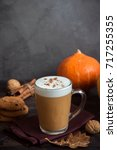 pumpkin spice latte. cup of... | Shutterstock . vector #717255355