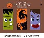 vintage halloween poster design ... | Shutterstock .eps vector #717257995