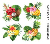 tropical summer bouquet with... | Shutterstock .eps vector #717258691