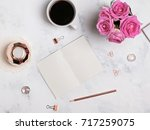 styled desktop. coffee  flowers ... | Shutterstock . vector #717259075