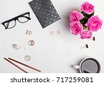 coffee  glasses  pink roses and ... | Shutterstock . vector #717259081