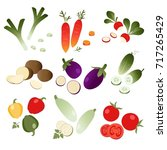 set of vegetables on white... | Shutterstock .eps vector #717265429