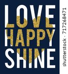 love happy slogan with gold... | Shutterstock .eps vector #717268471