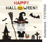 happy halloween  greeting card... | Shutterstock .eps vector #717270565