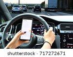 woman sending message from a... | Shutterstock . vector #717272671