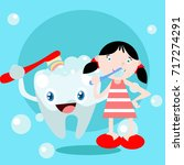 dental health campaign for kid. ... | Shutterstock .eps vector #717274291