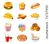 colorful icons with fast food...   Shutterstock . vector #71727553
