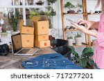 start up small business owner... | Shutterstock . vector #717277201