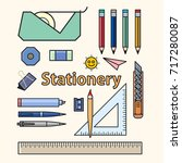 set of student stationery vector | Shutterstock .eps vector #717280087