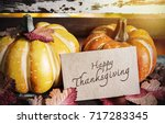 happy thanksgiving tag and... | Shutterstock . vector #717283345