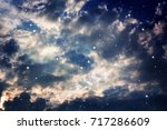 space of night purple sky with... | Shutterstock . vector #717286609