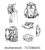 hiking and camping. set of... | Shutterstock .eps vector #717286651