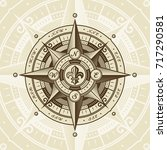 vintage nautical wind rose | Shutterstock . vector #717290581