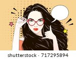 comic pop art long hair woman... | Shutterstock .eps vector #717295894