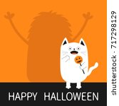 happy halloween. monster... | Shutterstock .eps vector #717298129