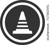 road cone sign . round icon | Shutterstock .eps vector #717302551
