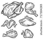 chicken cuts  hen parts.... | Shutterstock .eps vector #717304285