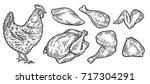 chicken cuts  hen parts.... | Shutterstock .eps vector #717304291