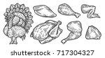 turkey cuts  turkey parts.... | Shutterstock .eps vector #717304327