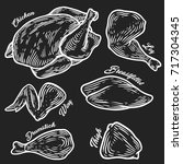 chicken cuts  hen parts.... | Shutterstock .eps vector #717304345