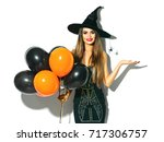 halloween party girl. happy... | Shutterstock . vector #717306757