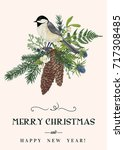 christmas card with a bird ... | Shutterstock .eps vector #717308485