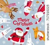 vector christmas greeting card. ... | Shutterstock .eps vector #717310225