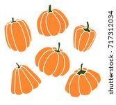 pumpkins set. silhouette on... | Shutterstock .eps vector #717312034