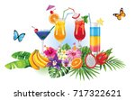 tropical summer arrangements... | Shutterstock .eps vector #717322621