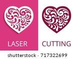 cutout paper heart silhouette ... | Shutterstock .eps vector #717322699