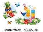 tropical summer arrangements... | Shutterstock .eps vector #717322801