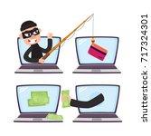 hacker stealing money and... | Shutterstock .eps vector #717324301