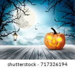 scary halloween background with ... | Shutterstock .eps vector #717326194