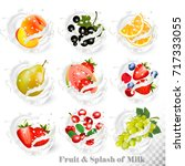 big collection of fruit in a... | Shutterstock .eps vector #717333055