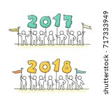 2017 and 2018 happy new year... | Shutterstock .eps vector #717333949