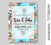poinsettia wedding invitation... | Shutterstock .eps vector #717334144