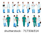 doctor colored set 02 | Shutterstock .eps vector #717336514