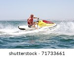 young guy cruising on the... | Shutterstock . vector #71733661