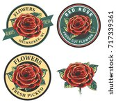 set of vintage flowers logo ... | Shutterstock . vector #717339361