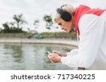 side view portrait of... | Shutterstock . vector #717340225
