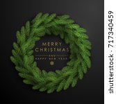 christmas wreath made of... | Shutterstock .eps vector #717340459