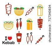 doner kebab vector icons  kebab ...   Shutterstock .eps vector #717340834