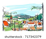 rough colorful sketch of small... | Shutterstock .eps vector #717342379