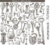 handmade work   vintage key | Shutterstock .eps vector #71734312