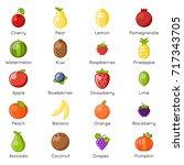 fresh fruit healthy food... | Shutterstock .eps vector #717343705