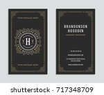 business card vintage ornament... | Shutterstock .eps vector #717348709