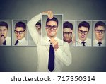 masked man in glasses... | Shutterstock . vector #717350314