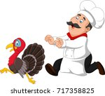 cartoon chef trying to catch a... | Shutterstock .eps vector #717358825