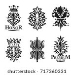 royal symbols lily flowers ... | Shutterstock .eps vector #717360331