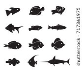 fish vector icon set isolated... | Shutterstock .eps vector #717361975